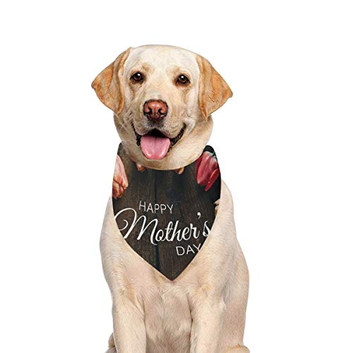 (JTMOVING Dog Scarf Creative Tulips On Black Printing Dog Bandana Triangle Kerchief Bibs Accessories for Large Boy Girl Dogs Cats Pets Birthday Party Gift)