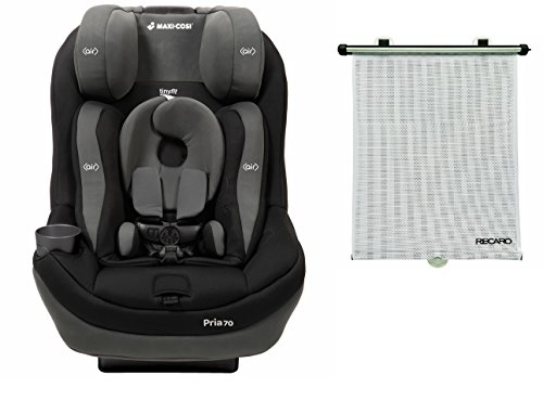 Maxi-Cosi 2016 Pria 70 Convertible Car Seat with Tiny Fit, Total Black with BONUS Retractable Window Sun Shade