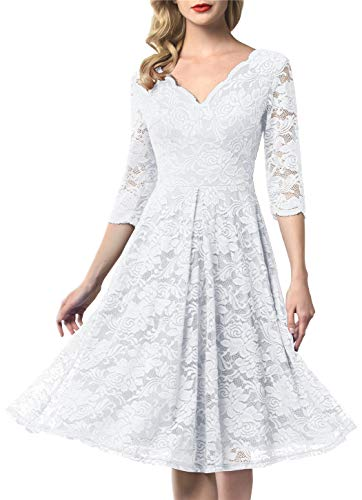AONOUR 0056 Women's Vintage Floral Lace Bridesmaid Dress 3/4 Sleeve Wedding Party Midi Dress White XS