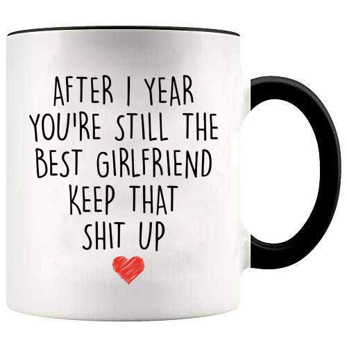 YouNique Designs 1 Year Anniversary Coffee Mug for Girlfriend, 11 ounces, White, 1st Anniversary Gift for Her (Best Gift For 1 Year Anniversary Girlfriend)