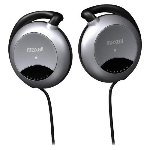 Stereo Headphone Clip Maxell Ear (Wholesale CASE of 25 - Maxell Stereo Ear Clips-Stereo Ear Clips, 3.5mm Plug, 4' Rubber Cord, Black)