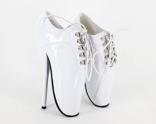 fetish ballet ankle shiny boots ballet stilleto ankle heel strap sexy white shoes 7