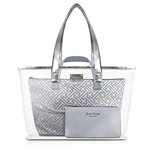 Kit Bolsa Shopper 3 Em 1 Necessaire Praia Transparente Diamantes Jacki Design Prata