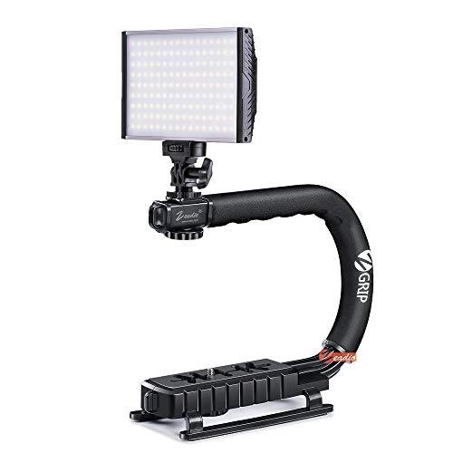 Zeadio Stabilizing Handheld Stabilizer + Bi-Colour Dimmable Camera Camcorder Video LED Light with 3200-5600K 1500LM Digital Control Panel for All Digital SLR Camera Camcorder ()