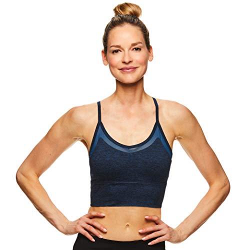 - Gaiam Women's Strappy Wireless Bralette - Medium Impact Longline Racerback Workout & Yoga Sports Bra - Athena Moonlit Ocean Heather Blue, Medium