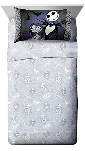 Disney Nightmare Before Christmas Meant To Be Full Sheet Set - 4 Piece Set Super Soft Kid's Bedding Features Jack Skellington - Fade Resistant Polyester Microfiber Sheets (Official -