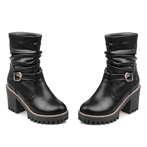 Allhqfashion Mujeres Round Closed Toe Low-top High Heels Sólidas Botas De Pu Negro