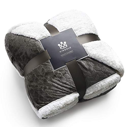 Kingole Double-Layer Reversible Luxury Sherpa Blanket, Charcoal Gray Twin Size Extra Warm Super Soft Cozy Plush for Couch/Bed Microfiber 580GSM (66