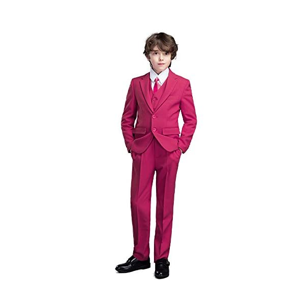 0dd6a39ff Yanlu 5 Piece Boy s Formal Suits Jacket+Vest+Pants+Shirt+Tie Kids ...