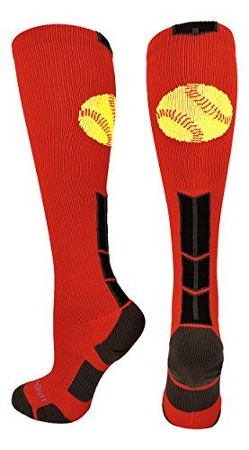 MadSportsStuff Softball Logo Over The Calf Socks (Scarlet/Black/Graphite, Medium) ()