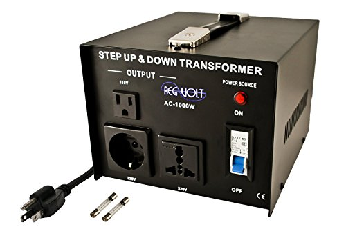 Regvolt AC-1000 Step Up & Down Voltage Converter Transformer, 1000 Watts - Heavy Duty Continuous Use Voltage Converter 110 Volt and 220 Volts with Circuit Breaker Protection, CE Certified
