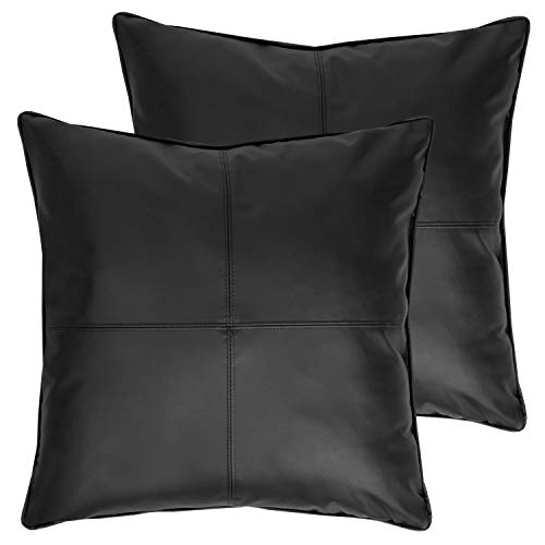 "Sweet Home Collection Decorative Pillows 2 Pack Faux Leather Soft Throw Cushion Solid Color for Couch, Sofa, Chair, Bed, 18"" x 18"", Black"