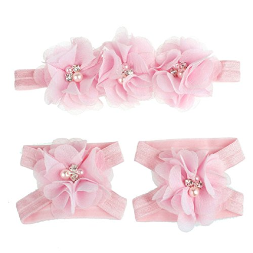 Suppion New HOT Colorful Fleur pied Barefoot Sandales + Bandeau Set pour bébé Bébé filles (Rose)