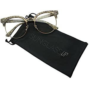 Round Wood Print Oversized Half Frame Gold Metal Clear Flat Lens Eye Glasses (Beige, 60)
