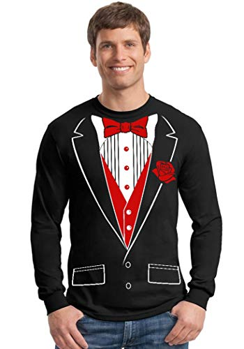 Promotion & Beyond Tuxedo Red Rose Funny Long Sleeve Shirt, 2XL, Black