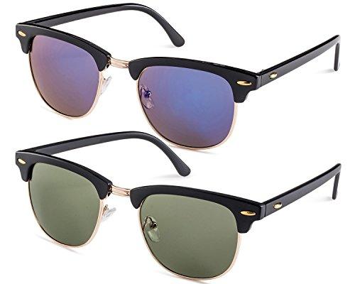 Shiny Black Womens Sunglasses (Shiny Black Frame/Blue Mirror Lens and Matte Black Frame/Green Lens Set)