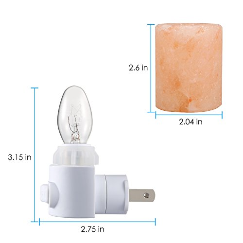 AMIR Salt Lamp, Natural Himalayan Crystal Salt Light with 2 Bulbs (1 Colorful Bulb), 11.2 Ounces Mini Hand Carved Night Light with UL-Approved Wall Plug for Air Purifying, Lighting and Decoration by AMIR (Image #5)'