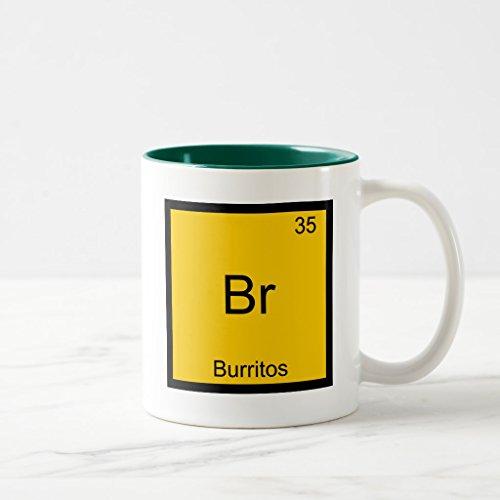 Br Two Tone Green (Zazzle Br - Burritos Chemistry Element Symbol Funny Coffee Mug, Hunter Green Two-Tone Mug 11 oz)