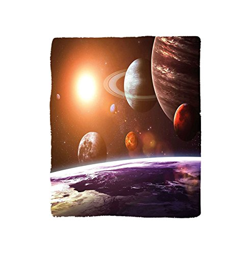 VROSELV Custom Blanket Modern Solar System with Planets Outer Space Objects Sun Dark Matter Background Soft Fleece Throw Blanket Orange Purple by VROSELV