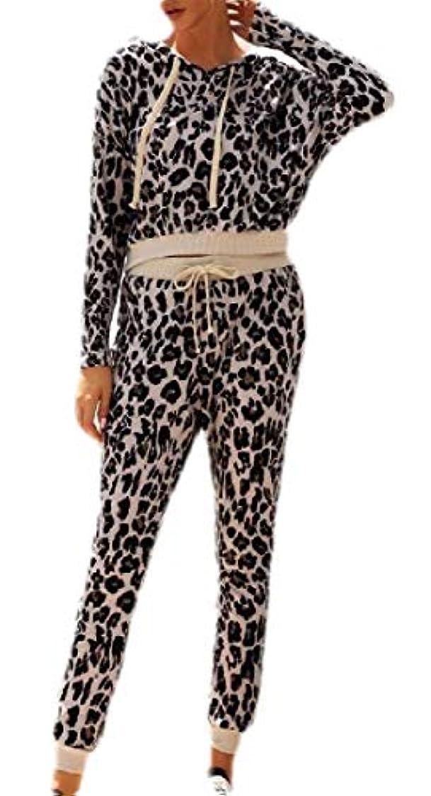 振り子最適医療のchenshiba-JP 女性ヒョウプリントパンツセットトラックスーツウェアラウンジウェアスーツ2個