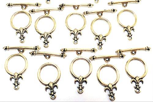 Fleur De Lis Gold Brooch - Set of Ten (10) Gold Tone Pewter Fleur de Lis Toggle End Clasps