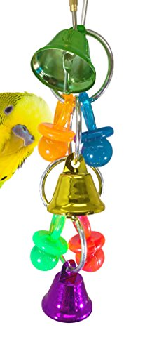Bonka Bird Toys 1235 Bell Bird Toy Parrot Cage Toys Cages African Grey Amazon Cockatiel Conure Parakeet Crafts Pacifier Aviary Playground