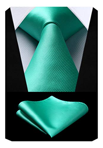 - Mens Solid Aqua Tie Classic Necktie Tie and Pocket Square Set with Gift Box by HISDERN
