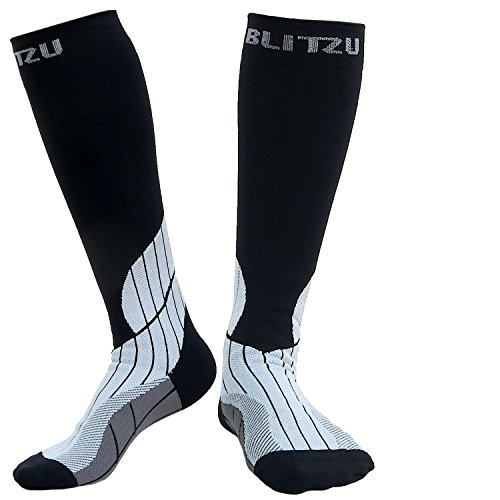 Blitzu Sports Compression Socks Men and Women Performance Stockings Medical Diabetic Graduated Leg Support Recovery & Relief Prevent Swelling Shin Splints Calf Pain Airplane Flight Travel & Arthritis