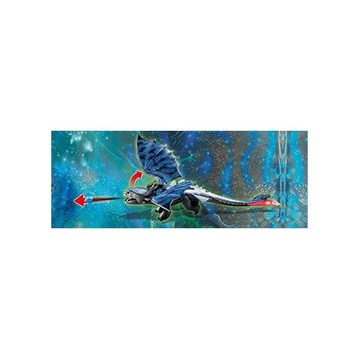 41Cf%2BrRV3IL Diversión para pequeños aventureros: DreamWorks Dragons Hipo y Desdentao con bebé dragón de PLAYMOBIL con accesorios como espada de fuego, traje de vuelo y mucho más Desdentao con espinas dorsales luminosas y función de tiro para flechas, varias aletas entre otros, ampliable con PLAYMOBIL Furia Diurna y bebé dragón con niños (70038) Juego de figuras para niños a partir de 4 años: óptimo para el tamaño de sus manos y bordes redondeados agradables al tacto