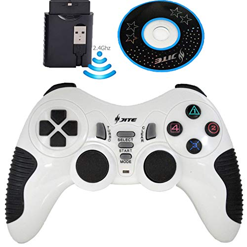 Ps2 White Wireless Controller - Wireless Controller for PS3 PC Gamepads Game Pad Joystick Remote Game Controller for PC Computer Laptop Notebook PS2 Windows (White)