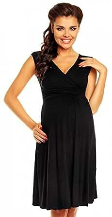 Zeta Ville Women's Maternity Breastfeeding Flattering Summer Skater Dress 256c (Black, US 4, S)
