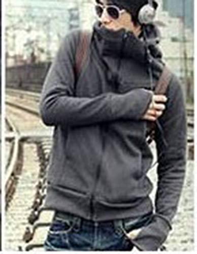 Oscuro Delgado Sudadera Sportswear Casual Chaqueta Abrigo Gris Calentar Wenchuang Con Hombres Capucha ZPUPw