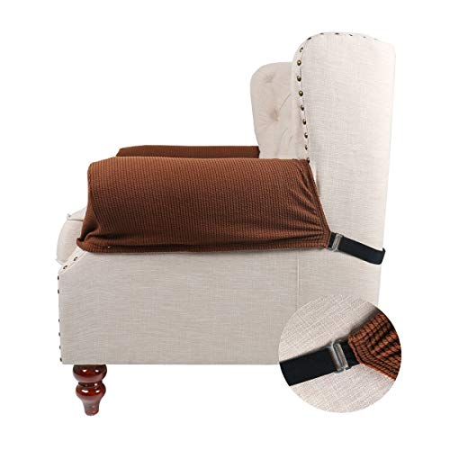 Arm Recliner 2 (FlyingBean Stretch Couch Armrest Covers for Both Fabric and Leather Chair/Loveseat/Sofa/Recliner, Set of 2 with Adjustable Tapes(Coffee))