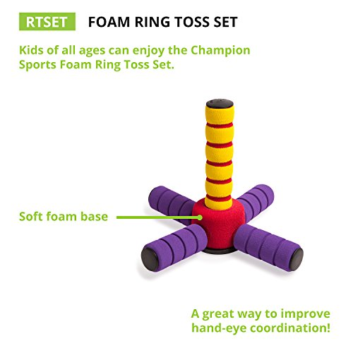 41Cf X9 r2L - Champion Sports Ring Toss Game: Outdoor Lawn & Party Toy Set for Kids & Adults - Fun for Camping, Backyard BBQs or Indoors - Soft Foam Rings