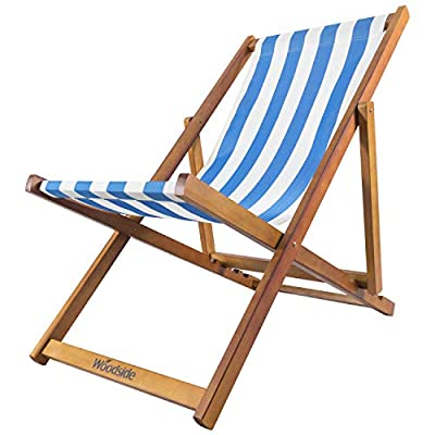 Woodside Traditional Wooden Folding Deck Chair Light Blue and White
