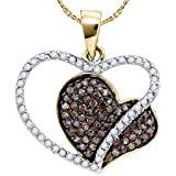 3/8 Carat Chocolate & White Diamond 10k Yellow Gold Heart Pendant w/ Chain