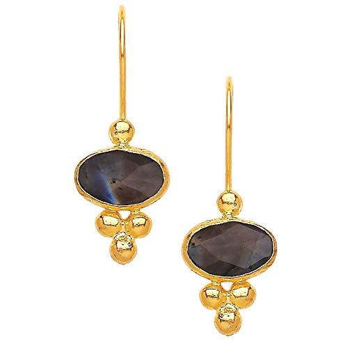 Nathis OVAL TRIPLE BEAD LABRADORITE Earrings For Women ()
