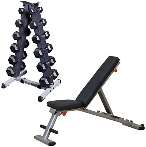 Body-Solid 5-30 lb. Rubber Dumbbell Pair Package with Rack and Weight Bench