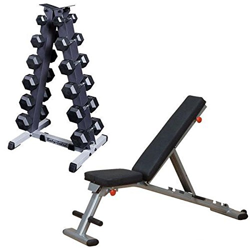 5-30 lb. Rubber Dumbbell Pair Package with Rack and Weight Bench by Body-Solid