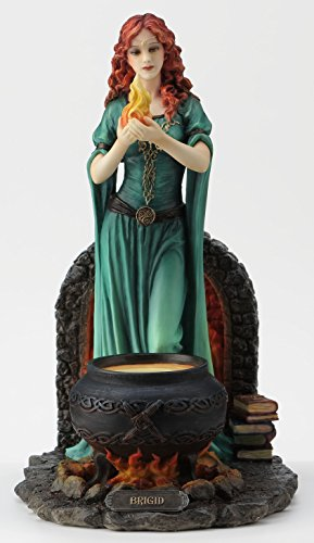 Stand Fireplace Brick (Veronese Resin Statues Brigid Goddess Of Hearth & Home Standing Holding Sacred Flame Statue 7 X 9.5 X 5.5)