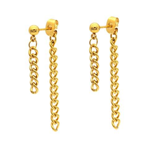 - JSEA Stainless Steel Double Tassel Curb Chain Long Dangle Earrings Hypoallergenic Black Silver Gold Earring G