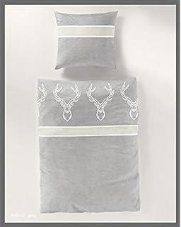 Renforc/é Bettbezug Partner Bettw/äsche 135x200cm 80x80cm Grau//Wei/ß Schriftzug Baumwolle mit Rei/ßverschlu/ß Mojawo 4-TLG