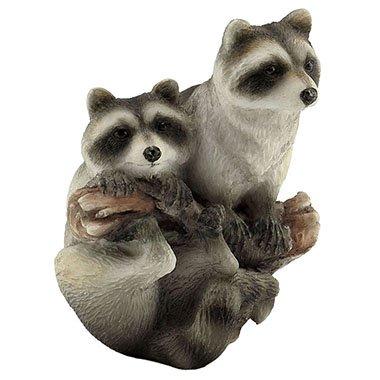 Baby Raccoon Pair on a Tree Branch Mini Figurine (Raccoon Figurine)
