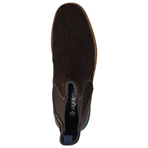 Arqueonautas Winchester Herren Schuhe Wildleder Chelsea-Boots Stiefelette Budapester-Stil Braun
