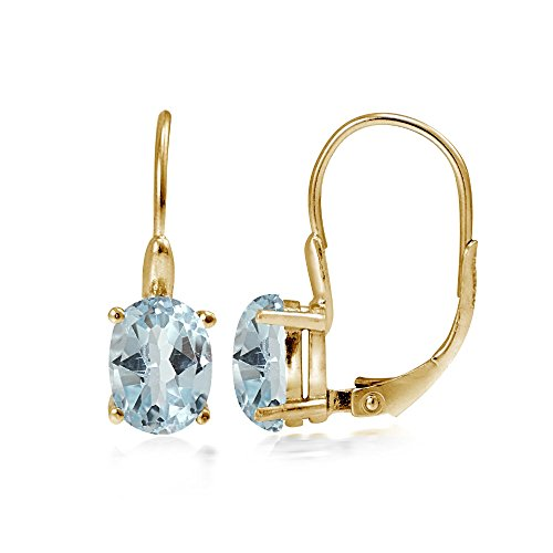 - Yellow Gold Flashed Sterling Silver Blue Topaz 8x6mm Oval Leverback Earrings