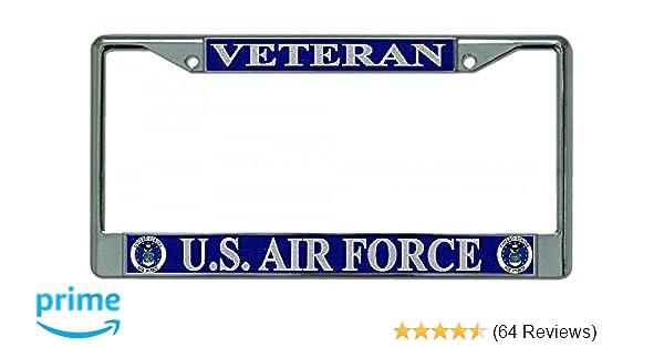 Air Force Veteran Chrome License Plate Frame U.S