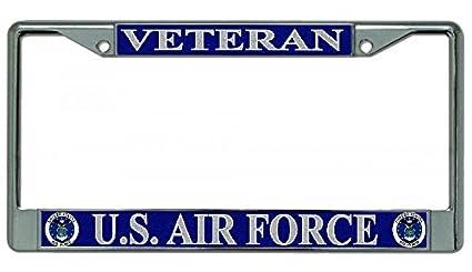 US Air Force Veteran Chrome License Plate Frame