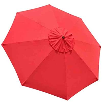 "Heavy Duty 9x9 Ft/ 108"" Diam Round 8-rib Umbrella Replacement Canopy Red UV Protection Sun Shade Waterproof Polyester Fa : Garden & Outdoor"