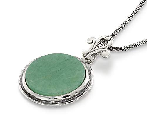 Retro Style Round Green Aventurine Pendant Sterling Silver Necklace Unique Design Women's Jewelry, -