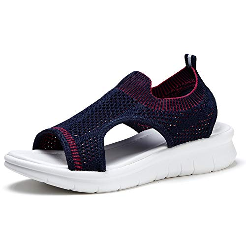 HKR Womens Mesh Casual Sandals Comfy Summer Shoes Lightweight Shopping Working Sandles Navy Blue 9(SZ7739shenlan41)